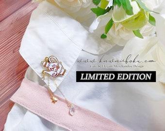 PREORDER - Limited Edition Wonderland Tea Pot Dangle Ear Cuff | Enamel Pin | Cute and Kawaii | Multipurpose Accessories
