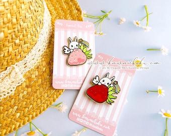 Strawberry Mochi Rabbit Enamel Pin | Enamel Charm | Cute and Kawaii | Gift & Accessories