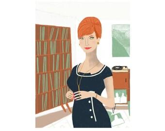Joan Holloway Mad Men Portrait Illustration Art Print
