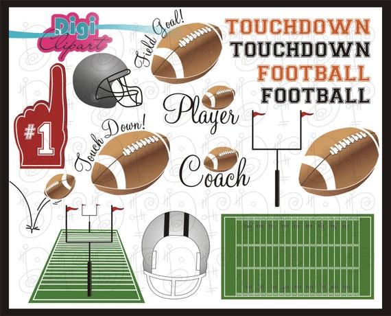 Football Field Touchdown Helmet Foam Finger Sports Clip Art Etsy