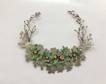 Enamel Lichen Bib Necklace