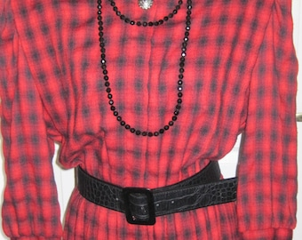 Red And Black Plaid Dress, Vintage Clothing, Marked Lady Carol,  Made In New York, Elastic Waist Band