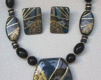 Tribal Influence Necklace With Matching Earrings, Vintage Jewelry Set, Teal, Gold, Black