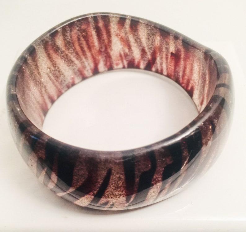 ON SALE Wavy Edge Tiger Pattern Bangle Vintage Bracelet Early Plastic