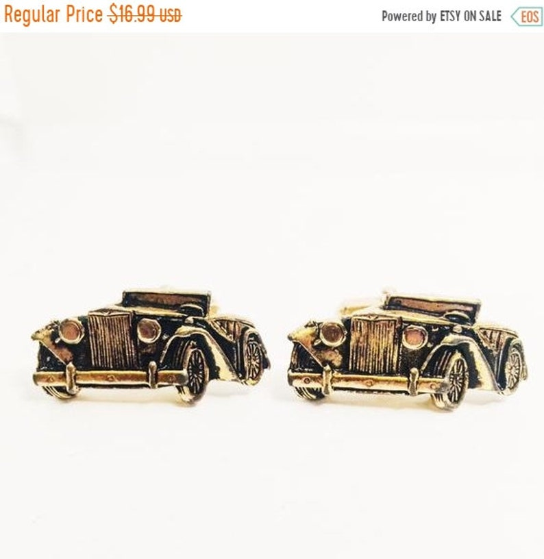 ON SALE Roadster Cuff Links Vintage Jewelry Antique Gold
