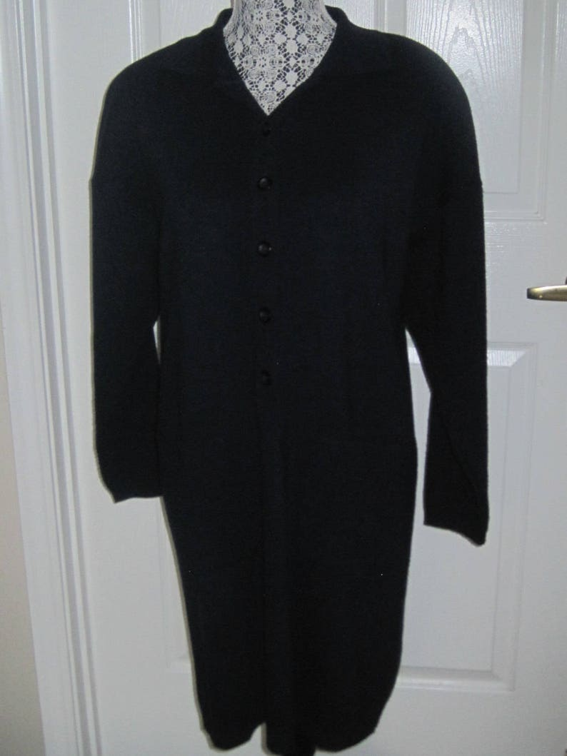 Marked Karen Lessly Classic Navy Blue Sweater Dress Booties Size M Made In USA Boots Wear With Leggings