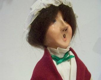Mrs Crachit holding plum pudding Byer Choice christmas carol figure