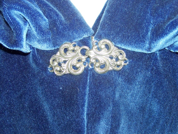 Blue velvet Cape with hood and clasp never worn