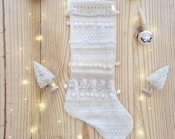 Boho Cream n White Christmas Stocking, Boho Stocking, Bohemian Pom Pom Stocking, Christmas Stocking, Fringe Modern Stocking, Tassel Stocking