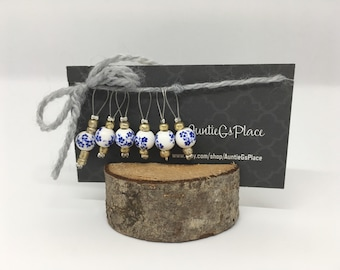 Stitch Markers | Knitting | Porcelain | Blue Flowers