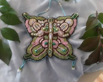 Butterfly Ornament, Bead Embroidered