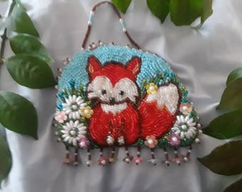 Little Red Fox Ornament, bead embroidered, all hand made