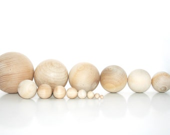 5 Sizes TESION 88 Pcs Natural Round Wood Ball Wood Craft Balls Unfinished Round Wooden Balls for DIY Craft Projects Jewelry Making Art Design