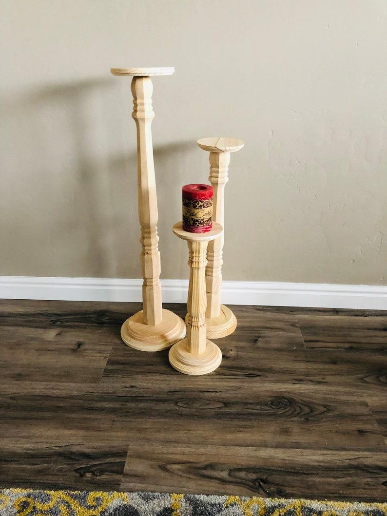 3 Tall Wood Pillar Candlestick Holders Wedding Decor Tall Candlestick Holders Rustic Wedding Candlesticks Pillar Candle Holder Sets