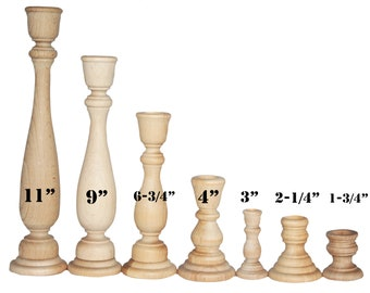 1- Candlestick Holders Unfinished Wood, DIY Wedding Accents, Home Decor, Cake Tier Spacer, Wedding Decor, Candle Holders, Wood Candlestick