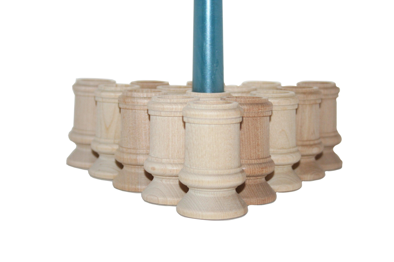 Unfinished Wood Pillar Candlestick Holders Tall Candlestick Wedding Decor