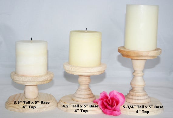 Smaller Unfinished Wood Pillar Candlestick Holders Diy Wedding Accents Candlestick Holders Wedding Table Candlestick Holders