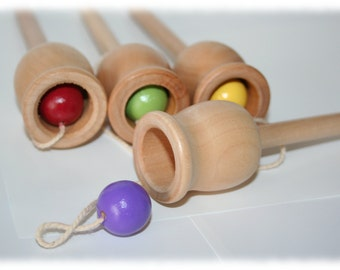 Plop In The Top, A Classic Ball And Cup Toy, Old Time Toy, Wooden Toy, Party Favors, Past Time Toy, Educational Toy, Birthday Game Toy