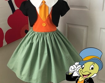 a82b3178a19 Custom Made to Order Disney Jiminy Cricket from Pinocchio inspired dress Sz  3T to 10