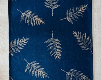 Handprinted Tea Towel - Gold Cedar on Indigo