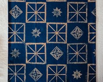 Handprinted Tea Towel - Gold tiles on Indigo