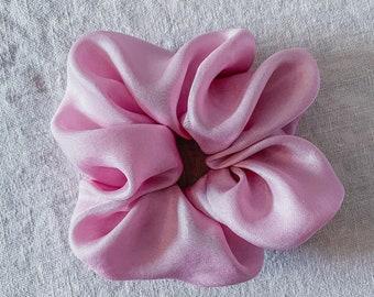 Rose quartz silk scrunchie