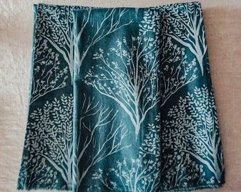 Handprinted Tea Towel - Silver Trees on Antique Green