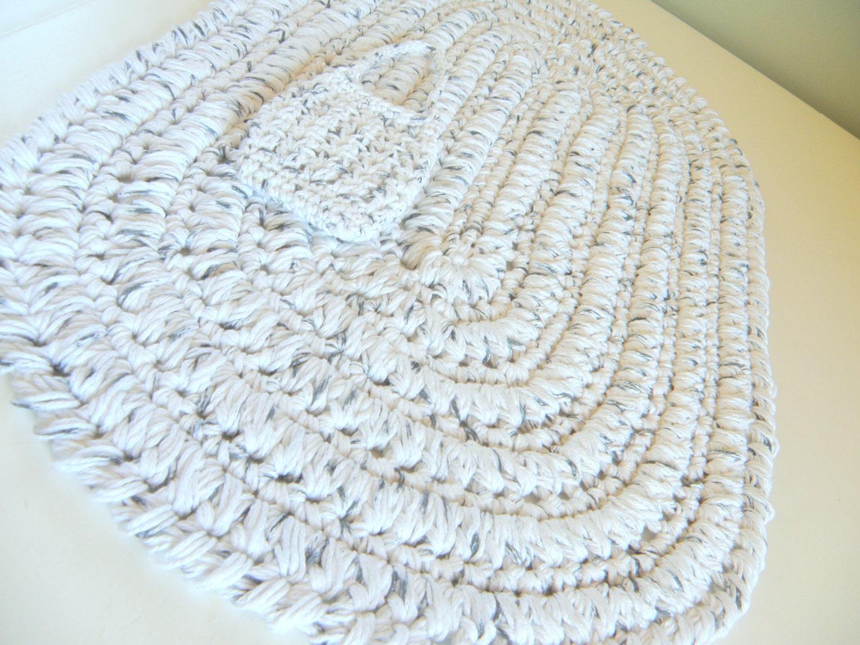 Ovale Baumwolle Badematte weiß w / schwarz häkeln Bad