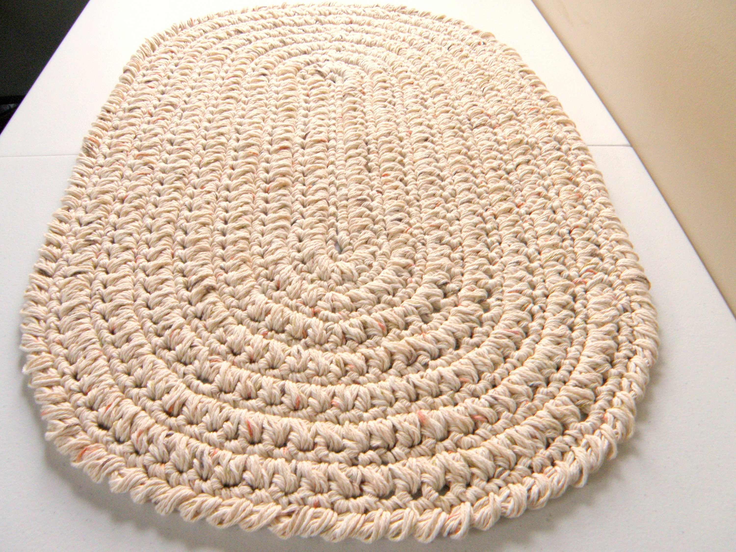 Oval Kitchen Rug or Bath Mat Thick Beige Bone Color Etsy