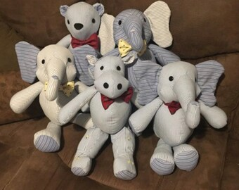 Elephant Memory Bunny vintage and more Puppy Moose or Bear Keepsakes made from clothing Cow blankets