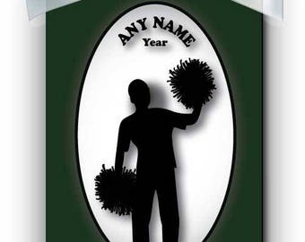 Cheerleader Boy Silhouette Personalized Ornament