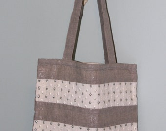 Shimmery Gray Linen Tote Bag with Embroidered Stripe Linen