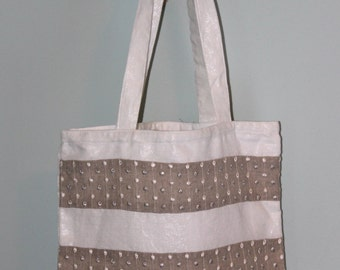 White Shimmery Linen Tote Bag with Embroidered Gray Linen Stripe