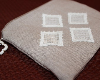 Handmade Linen Change Purse with Appliqued Lace Diamonds