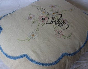 Handmade Pillow Cover with Appliqued Antique Embroidered Panel