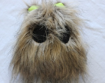 Handmade Faux Fur Monster with Lime Green Pointy Satin Ears
