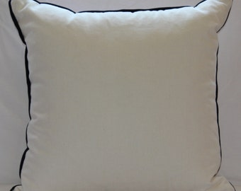 Handmade White Cotton Pillow with Navy Blue Baby Flange