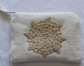 White Cotton Change Purse with Beige Doily Appliqued onto Front