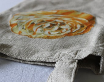 Handmade Large Linen Tote with Appliqued Flower, Lined with Pocket