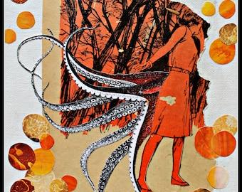 Tentacled Lady in Orange - Original Collage Art Print