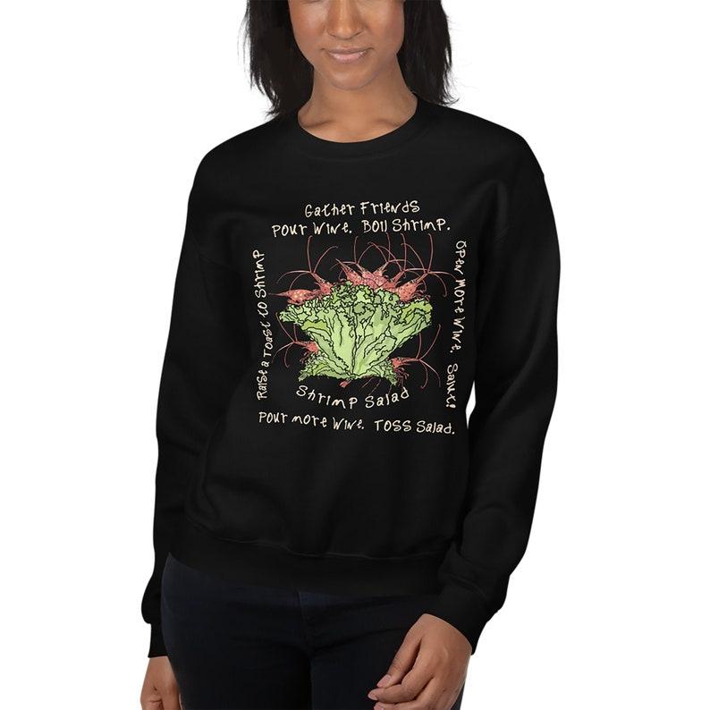 Black Sweatshirt  Shrimp Salad Recipe Shirt  Shrimp Shirt  image 0