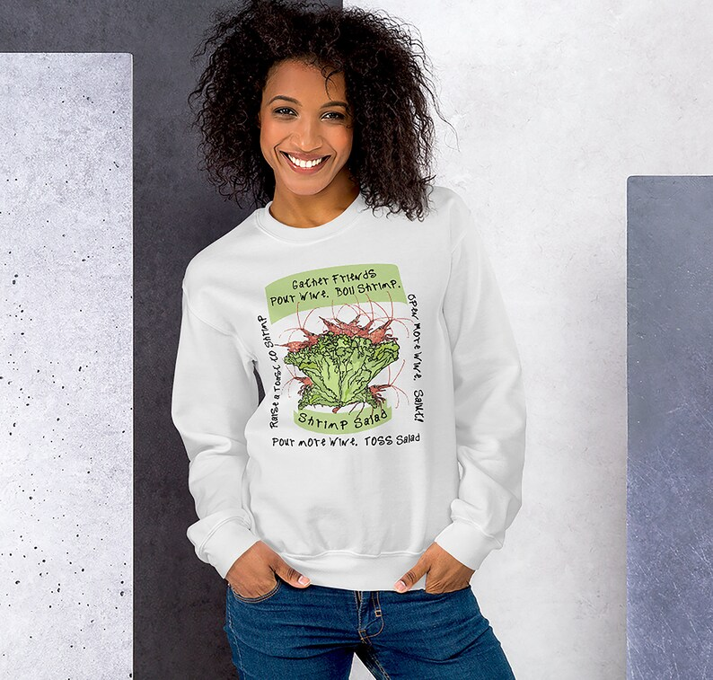 Shrimp Sweatshirt  Shrimp Art Shirt  Wine Lover Shirt  Wine image 0