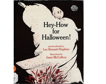 vintage Halloween book Hey How for Halloween, Halloween poems, childrens poetry, poems for kids, holiday poems, spooky Halloween poetry book