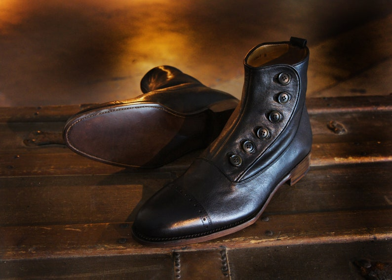 Edwardian Men's Shoes & Boots | 1900, 1910s Mergan Button Boot Black $799.00 AT vintagedancer.com