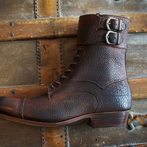 1940s Men's Shoes: Men's Vintage Shoe History Double Strap Hunter Boot $649.99 AT vintagedancer.com