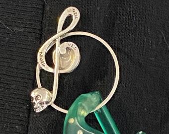 Sunglasses holder Eyeglass holder Skeleton Torso Cameos Set in Bronze Badge holder Skeleton Hand