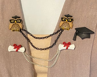 Sweater Clips Owls with Tail Feathers on a Branch In Bronze