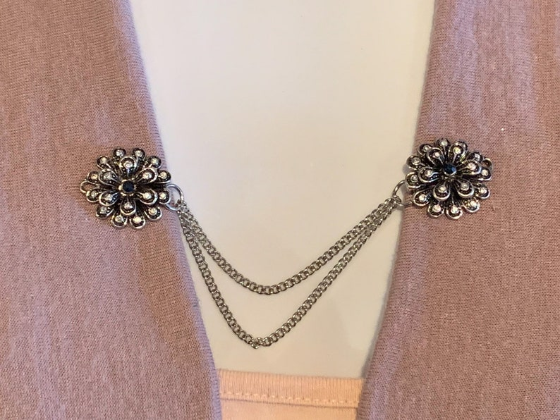 Sweater Clips Silver and Black Flowers with Black Center /_REDUCED PRICE