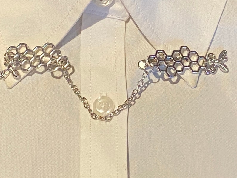 Honey Comb Bee Hive Honey Bees in Silver or Gold Sweater Clips