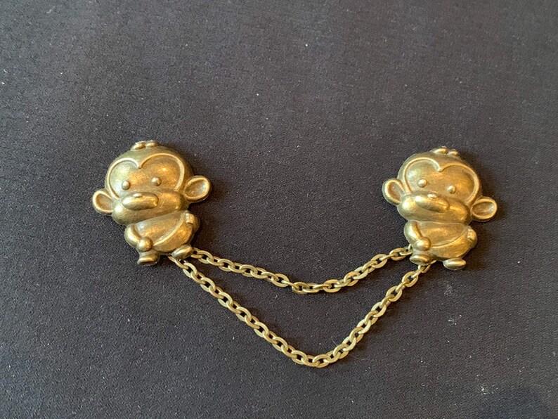 Monkeys in Bronze Collar Pins